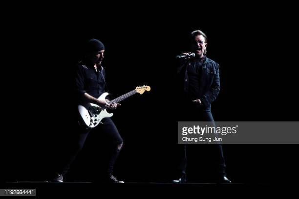 The Edge and Bono of U2 perform at the Gocheok Sky Dome on December 08 2019 in Seoul South Korea