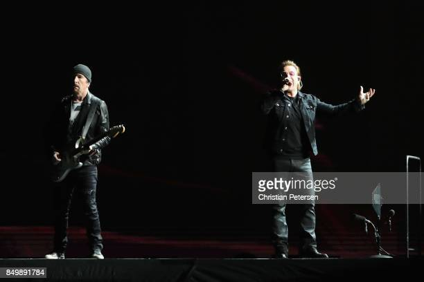The Edge and Bono of U2 perform during The Joshua Tree Tour 2017 at University of Phoenix Stadium on September 19 2017 in Glendale Arizona