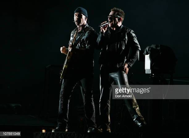 The Edge and Bono of U2 perform on stage at ANZ Stadium on December 13 2010 in Sydney Australia