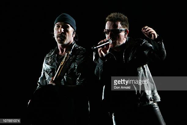 The Edge and Bono of U2 perform on stage at ANZ Stadium on December 13, 2010 in Sydney, Australia.