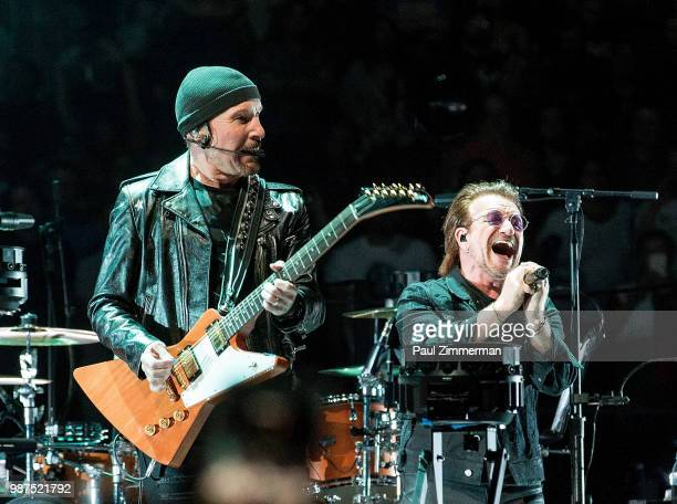 The Edge and Bono of U2 perform onstage onstage during the eXPERIENCE iNNOCENCE TOUR at Prudential Center on June 29 2018 in Newark New Jersey