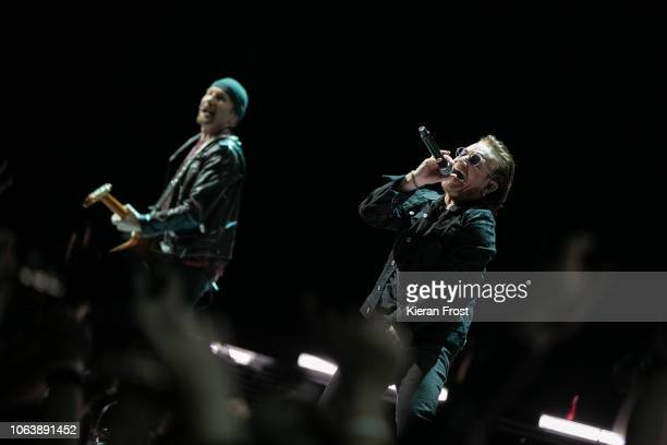 The Edge and Bono of U2 perform the first of four homecoming shows at the 3Arena Dublin on November 05 2018 in Dublin Ireland