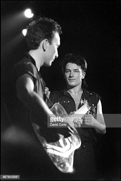 The Edge and Bono of U2 performing at Hammersmith Odeon London United Kingdom on 21 March 1983