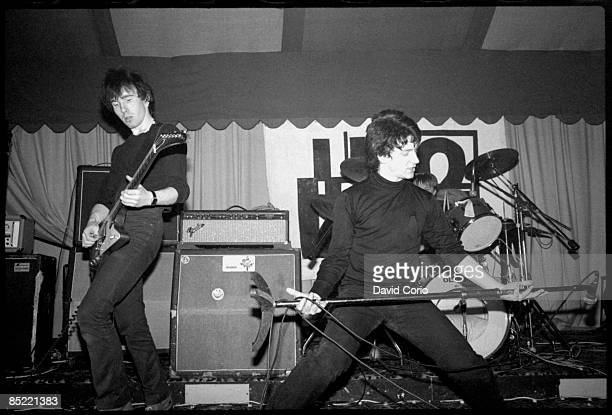 The Edge and Bono of U2 performing at the Garden of Eden club Tullamore Ireland 2 March 1980