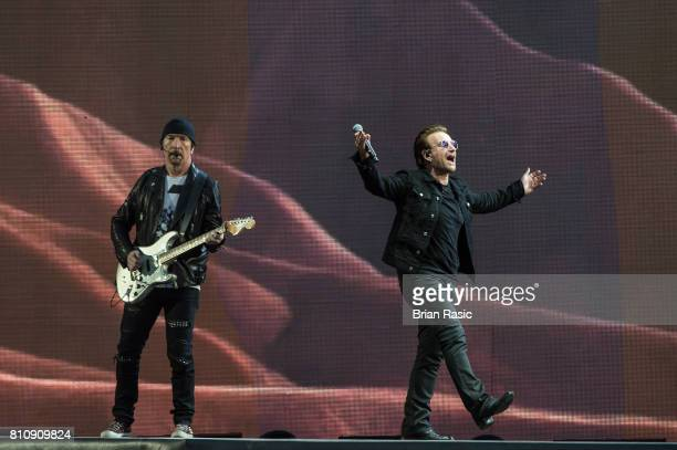 The Edge and Bono of U2 performing at Twickenham Stadium on July 8 2017 in London England