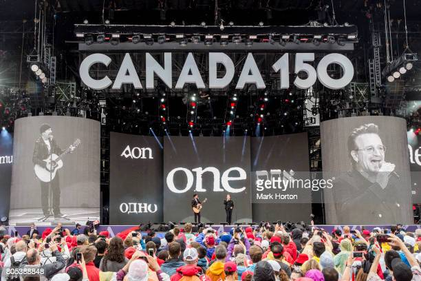 The Edge and Bono perform during Canada Day Celebrations at Parliament Hill on July 1 2017 in Ottawa Canada