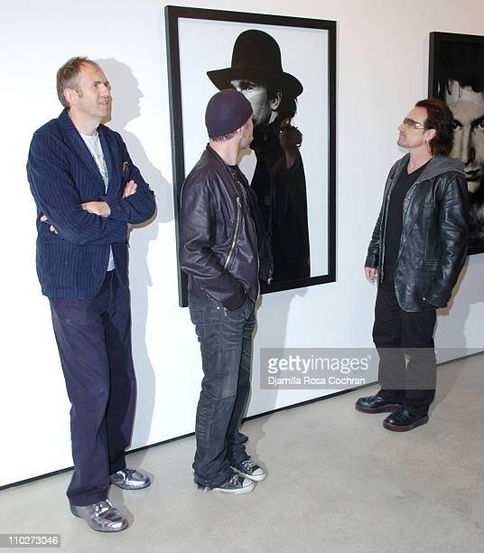 The Edge Anton Corbijn and Bono during Anton Corbijn's 'U2 I' Opening at the Stellan Holm Gallery at Stellan Hom Gallery in New York City New York...