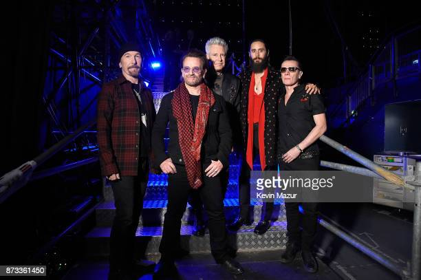 The Edge Bono Adam Clayton Jared Leto and Larry Mullen Jr pose backstage during the MTV EMAs 2017 held at The SSE Arena Wembley on November 12 2017...