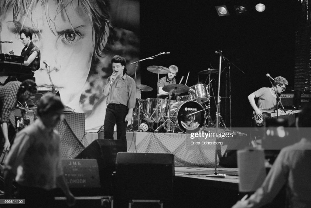 The Edge , Bono and Adam Clayton of Irish rock band U2