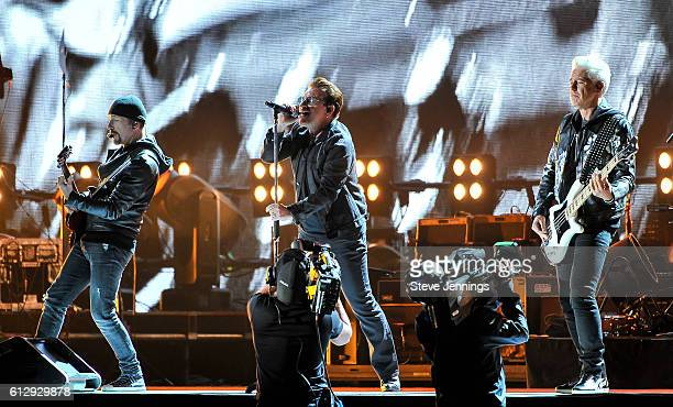 The Edge Bono and Adam Clayton of U2 perform at the UCSF Benioff Children's Hospital Benefit concert at Cow Palace on October 5 2016 in San Francisco...