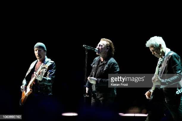 The Edge Bono and Adam Clayton of U2 perform the first of four homecoming shows at the 3Arena Dublin on November 05 2018 in Dublin Ireland