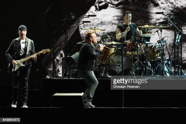 The Edge Bono and Larry Mullen Jr of U2 perform during The Joshua Tree Tour 2017 at University of Phoenix Stadium on September 19 2017 in Glendale...