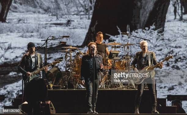 The Edge Bono Larry Mullen Jr and Adam Clayton of U2 perform in concert during The Joshua Tree Tour 2017 at NRG Stadium on May 24 2017 in Houston...