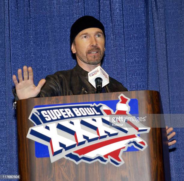 The Edge guitarist of U2 attends a press conference January 30 2002 at the Superdome in New Orleans Louisiana days before their live performance...