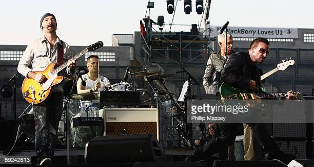 The Edge Larry Mullen Jr Adam Clayton and Bono from U2 perform at Croke Park on July 24 2009 in Dublin Ireland