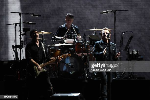 The Edge Larry Mullen Jr and Bono of U2 perform at the Gocheok Sky Dome on December 08 2019 in Seoul South Korea