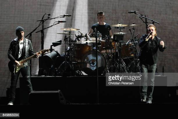 The Edge Larry Mullen Jr and Bono of U2 perform during The Joshua Tree Tour 2017 at University of Phoenix Stadium on September 19 2017 in Glendale...