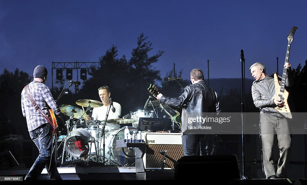 The Edge (L), Larry Mullen, Jr. (2nd-L), Bono (2nd-R) and Adam Clayton (R) of U2 perform at Don Valley Stadium on August 20, 2009 in Sheffield, England.