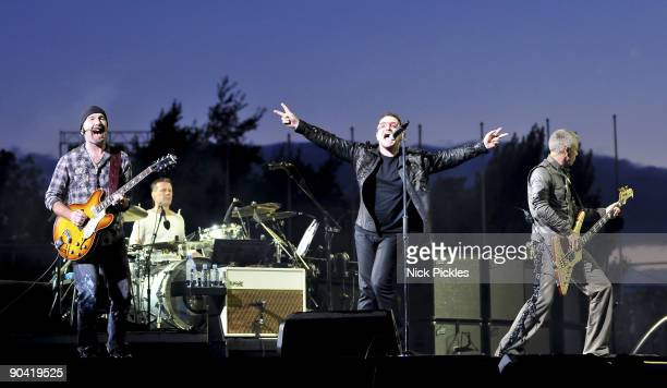 The Edge Larry Mullen Jr Bono and Adam Clayton of U2 perform at Don Valley Stadium on August 20 2009 in Sheffield England