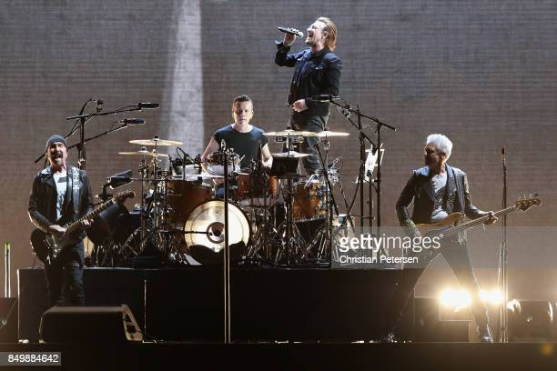 The Edge Larry Mullen Jr Bono and Adam Clayton of U2 perform during The Joshua Tree Tour 2017 at University of Phoenix Stadium on September 19 2017...