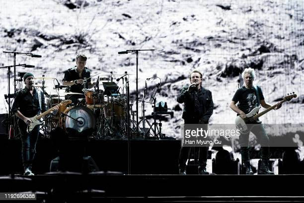 The Edge Larry Mullen Jr Bono and Adam Clayton of U2 perform on stage during 'U2 The Joshua Tree Tour 2019' at the Gocheok Sky Dome on December 08...