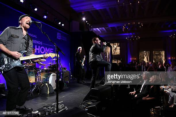 The Edge Larry Mullen Jr Bono and Adam Clayton of U2 perform onstage during the 3rd annual Sean Penn Friends HELP HAITI HOME Gala benefiting J/P HRO...