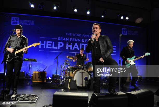 The Edge Larry Mullen Jr Bono and Adam Clayton perform onstage at the 3rd annual Sean Penn Friends HELP HAITI HOME Gala benefiting J/P HRO presented...