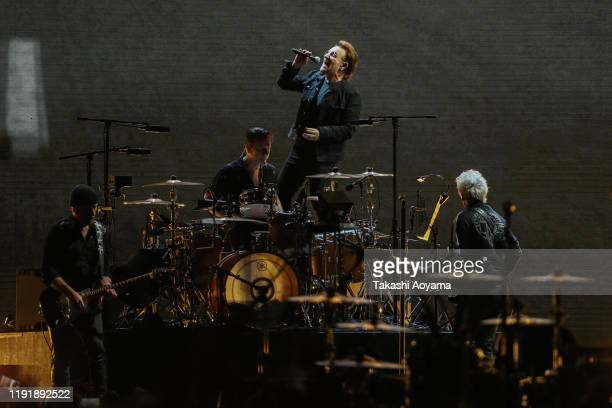 The Edge Larry Mullen JrBono and Adam Clayton of U2 perform at Saitama Super Arena on December 04 2019 in Saitama Japan