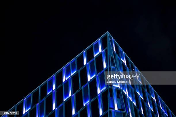 the edge of a building at night