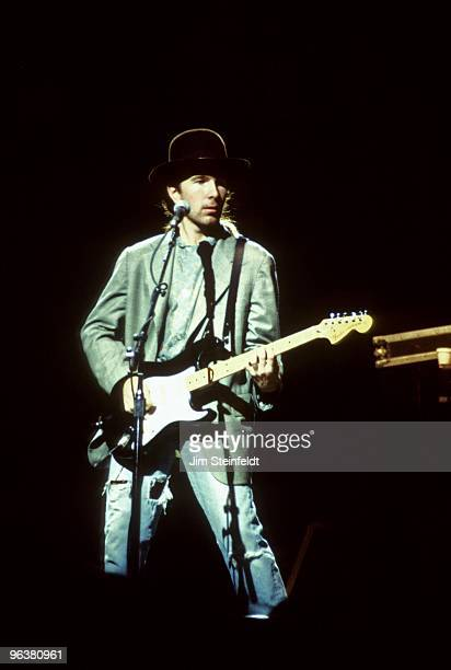 The Edge of the rock band U2 performs at the St Paul Civic Center in St Paul Minnesota on November 3 1987