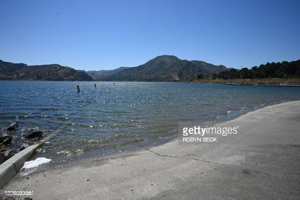 The edge of the water near the boating dock of Lake Piru in the Los Padres National Forest Ventura County California on July 10 2020 as the search...