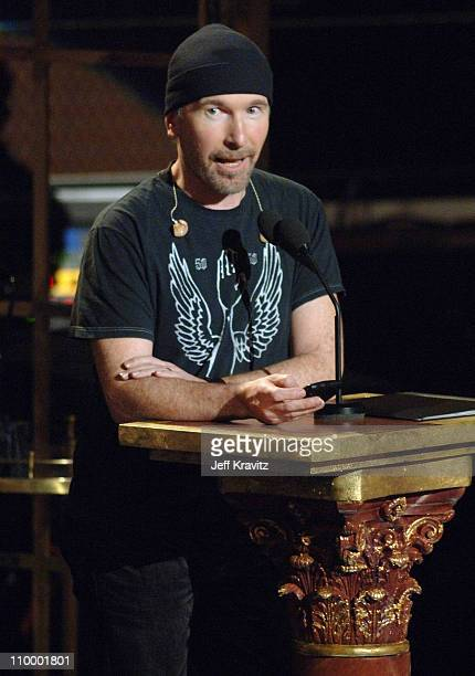The Edge of U2, inductee during 20th Annual Rock and Roll Hall of Fame Induction Ceremony - Show at Waldorf Astoria Hotel in New York City, New York,...