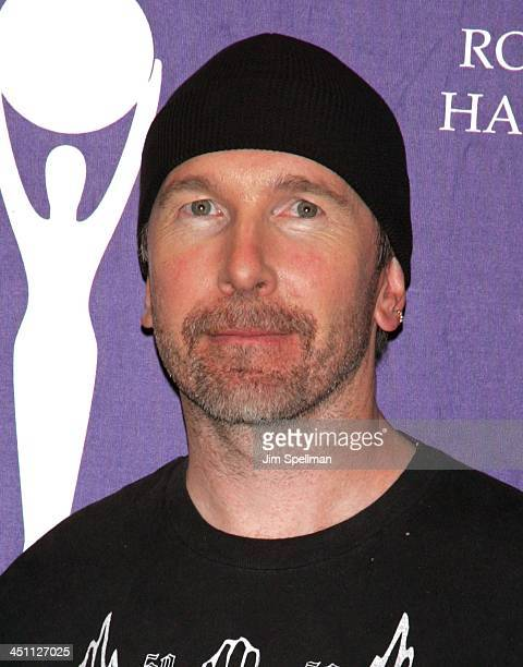The Edge of U2 inductee during 20th Annual Rock and Roll Hall of Fame Induction Ceremony Press Room at Waldorf Astoria Hotel in New York City New...