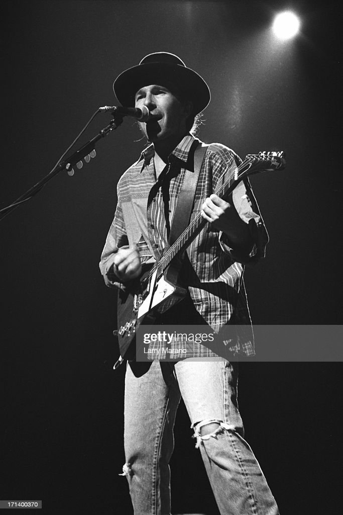 The Edge of U2 perform on the Joshua Tree Tour at Nassau Coliseum on October 9, 1987 in Uniondale NY. (Photo By Larry Marano).