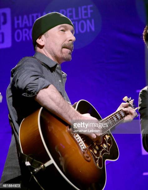 The Edge of U2 performs during the 3rd annual Sean Penn Friends HELP HAITI HOME Gala benefiting J/P HRO presented by Giorgio Armani at Montage...