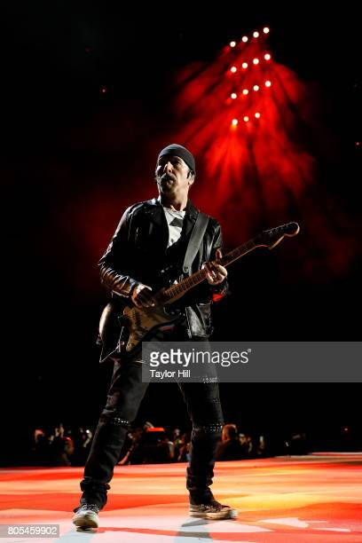The Edge of U2 performs during The Joshua Tree Tour 2017 at MetLife Stadium on June 29 2017 in East Rutherford New Jersey