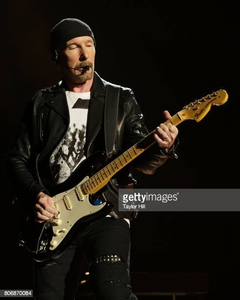 The Edge of U2 performs during The Joshua Tree Tour 2017 at MetLife Stadium on June 28 2017 in East Rutherford New Jersey