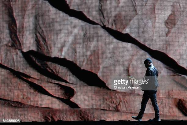 The Edge of U2 performs during The Joshua Tree Tour 2017 at University of Phoenix Stadium on September 19 2017 in Glendale Arizona