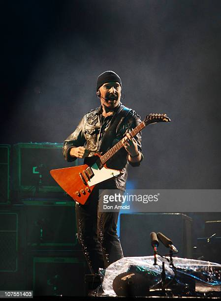 The Edge of U2 performs on stage at ANZ Stadium on December 13 2010 in Sydney Australia