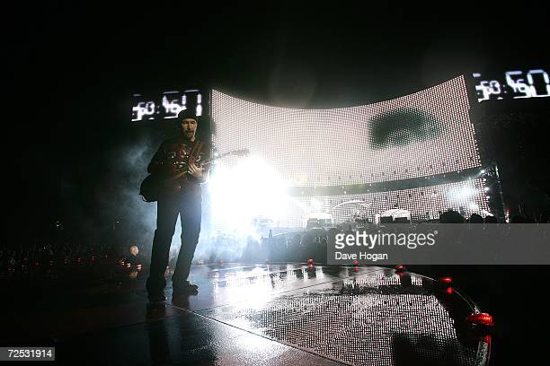 The Edge of U2 performs on stage at the first of three rescheduled Sydney dates on their Vertigo Tour, at the Telstra Stadium on November 10, 2006 in...