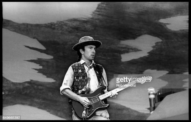 The Edge of U2 performs on stage on The Joshua Tree Tour at Feyenoord Stadion De Kuip Rotterdam Netherlands 10th July 1987 He is playing a Fender...