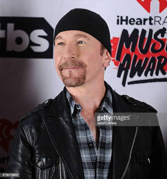 The Edge of U2 poses in the press room at the iHeartRadio Music Awards at The Forum on April 3 2016 in Inglewood California