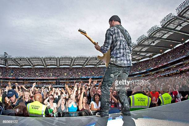 The Edge performs on stage for the second night of U2's 360 Degrees World Tour in their home town at Croke Park on July 25 2009 in Dublin Ireland