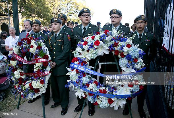 The Edgewood ROTC hold wreaths as thousands of Texans turn out for the Texas Capitol Vietnam Veterans Momument dedication 41 years to the day after...