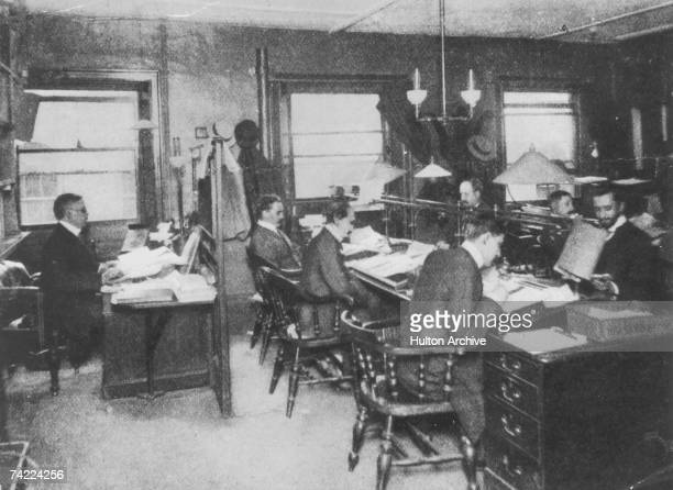 The editorial staff at Reuters Press Agency circa 1900