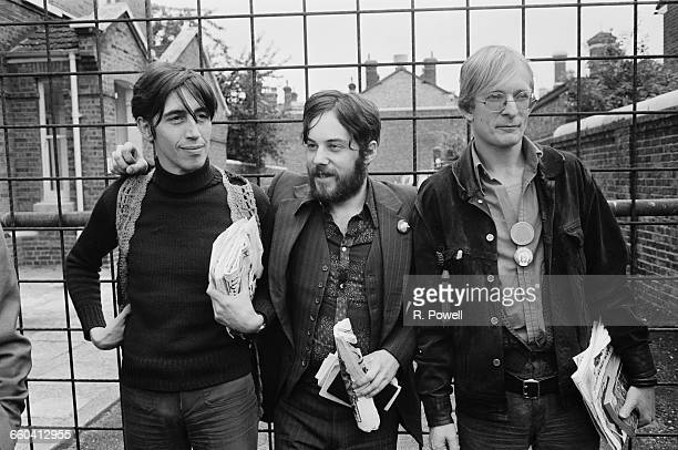 The editors of 'Oz' magazine hold a press conference having been released on bail prior to their obscenity trial London UK 9th August 1971 From left...
