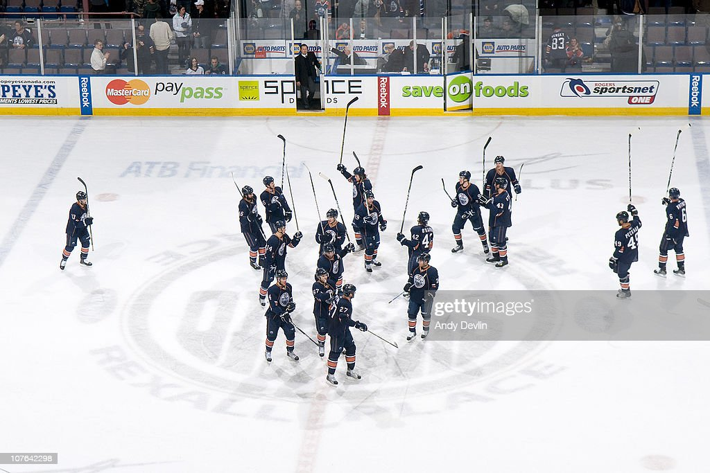 The Edmonton Oilers celebrate a 6-2 win over the Columbus Blue Jackets at Rexall Place on December 16, 2010 in Edmonton, Alberta, Canada.