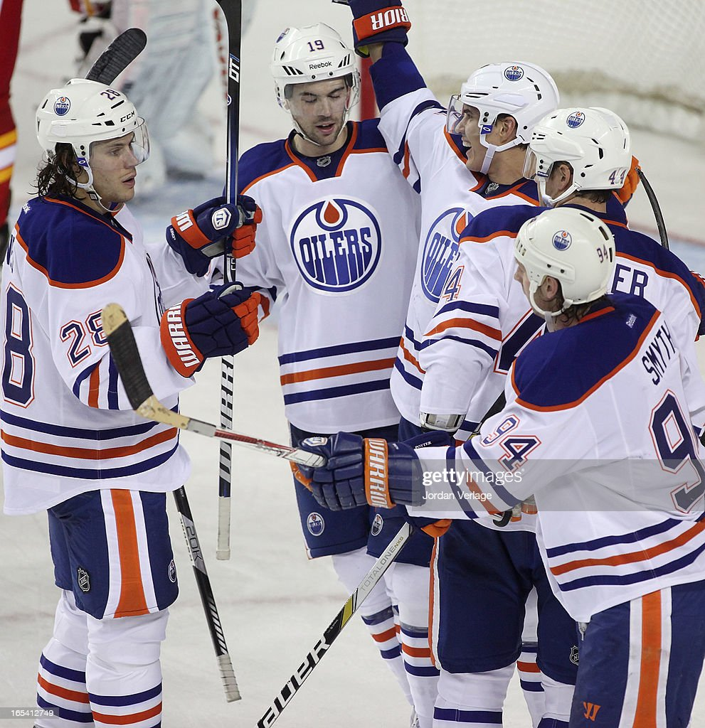 The Edmonton Oilers celebrate a third period goal against the Calgary Flames at Scotiabank Saddledome on April 3, 2013 in Calgary, Alberta, Canada.