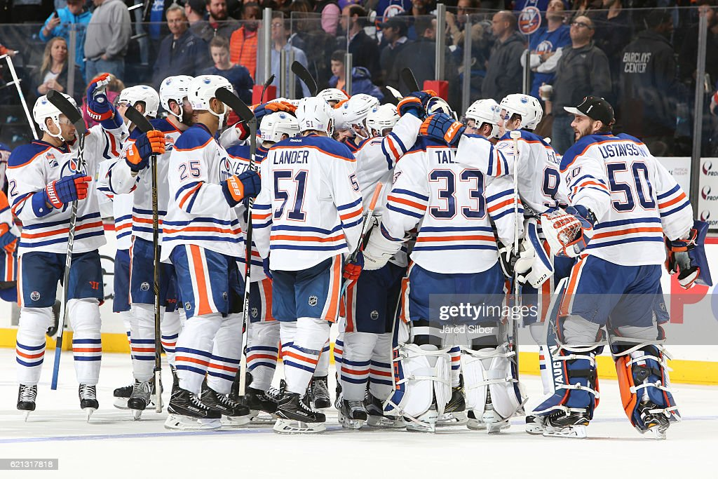 The Edmonton Oilers celebrate their win in the shootout against the New York Islanders at the Barclays Center on November 5, 2016 in Brooklyn borough of New York City. The Oilers defeated the Islanders 4-3.