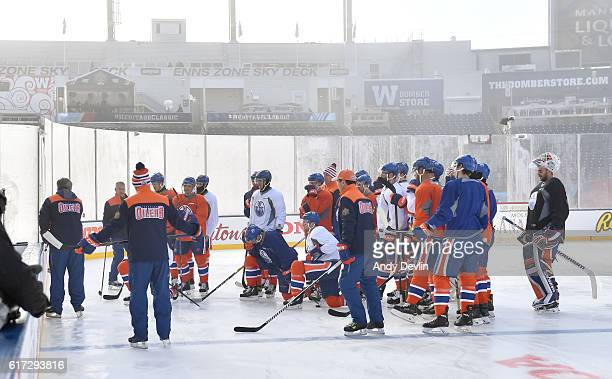 The Edmonton Oilers gather at practice in advance of the 2016 Tim Hortons NHL Heritage Classic game at Investors Group Field on October 22 2016 in...
